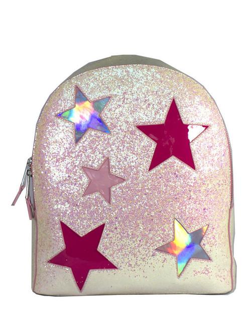 YRU Star Glitter Jems Holographic Pink Silver Womens Backpack Book Bag JEM