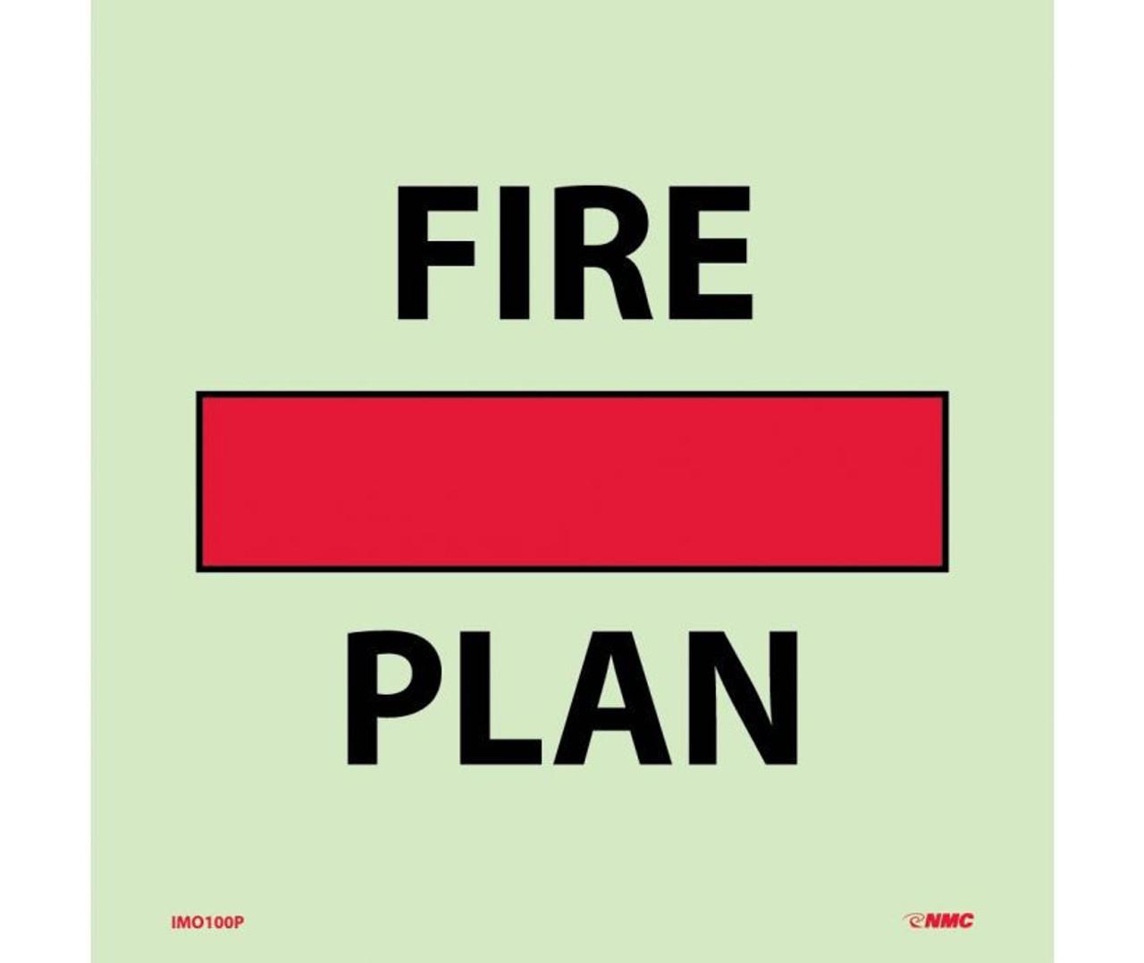 Imo Symbol Fire Control Safety Plan 6x6 Glow Vinyl Laminated