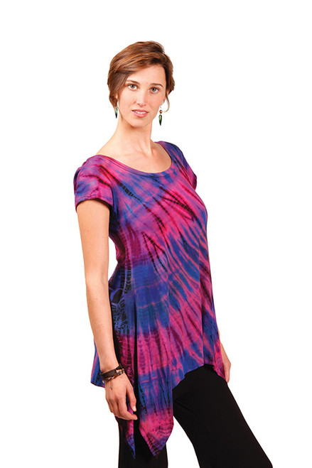 Destiny Rayon Spandex Angle Cut Cap Sleeve Long Top in Mudmee Tie Dye