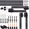 Mini Barn Door Double Door Hardware Kit with steel wheels - black powdercoated finish