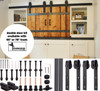 Mini Barn Door Double Door Hardware Kit with steel wheels - black powdercoated finish - complete kit