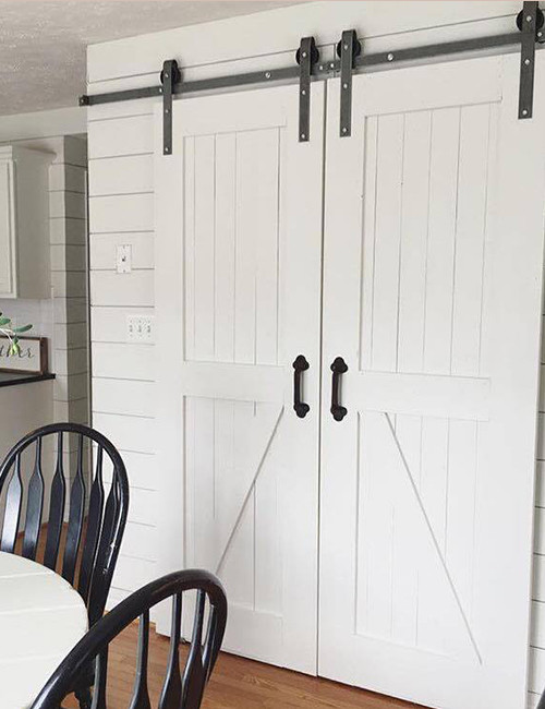 double-barn-door-hardware-installed & 8ft Double Sliding Barn Door Hardware Kit