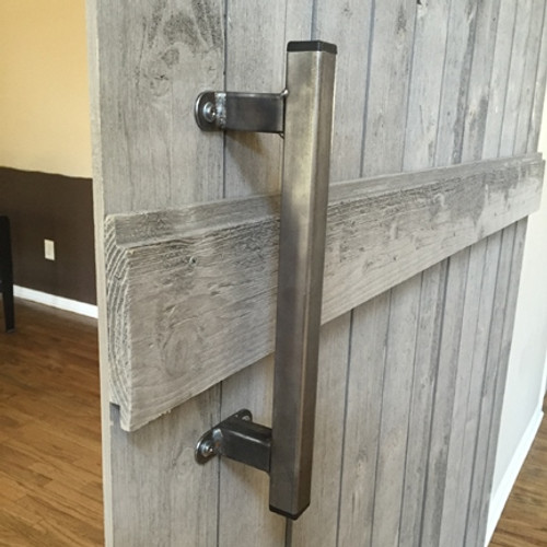 "indoor barn door handle - 13"" industrial door pull - raw steel finish"