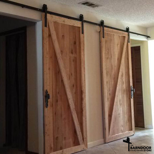 Double Door Barn Hardware Kit With Long Track Length