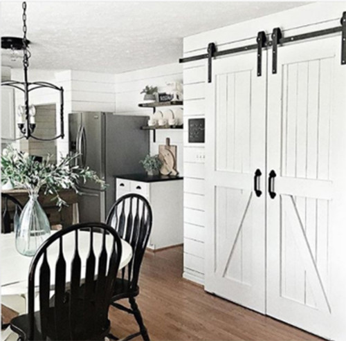 Double Sliding Barn Door Hardware   Shown In Optional E Coated Black Finish