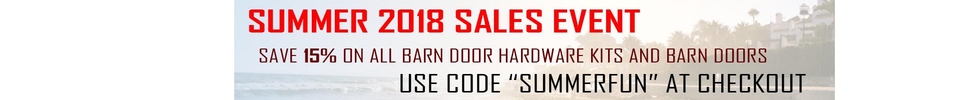 save 15% on all barn door hardware kits and barn doors