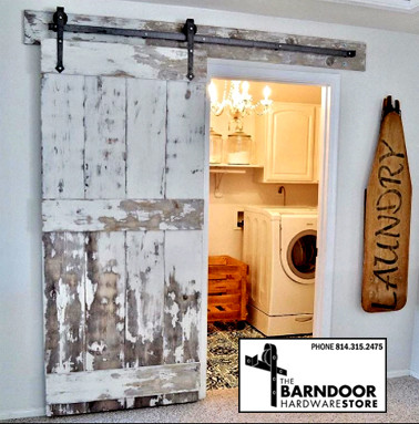 Superb Arrow Style Barn Door Hangers With Distressed Wood Door ...