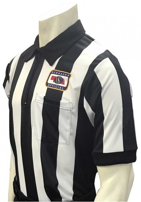 "Nebraska NSAA Body Flex Short Sleeve 2 1/4"" Stripe Football Referee Shirt"