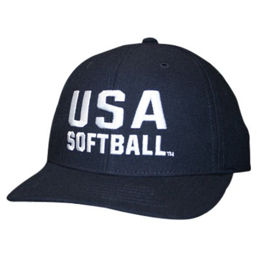 USA Softball Fitted Wool 2 1/2 inch 6-stitch Umpire Cap