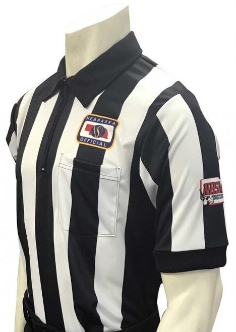 "Nebraska NSAA Body Flex Short Sleeve 2 1/4"" Stripe Football Referee Shirt with NHSOA Logo"