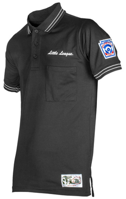 Little League Black Umpire Shirt with Black and White Trim