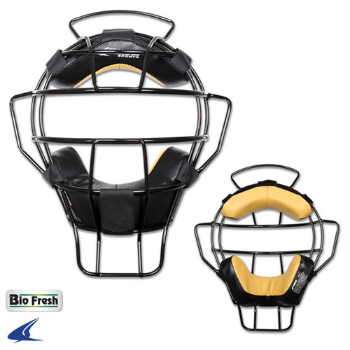 Champro Black Lightweight Umpire Mask Leather Biofresh Pads