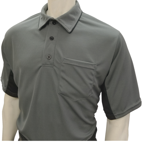MLB Style Charcoal Umpire Shirt with Black Side Panel