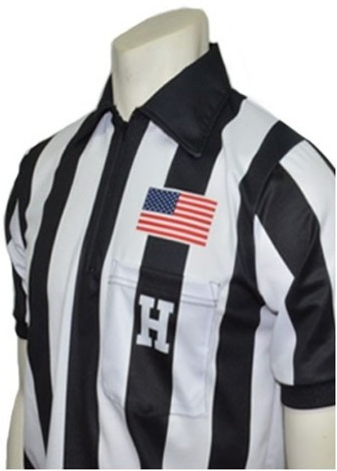 """Smitty Dye Sublimated Short Sleeve 2 1/4"""" Stripe Football Referee Shirt with Placket"""