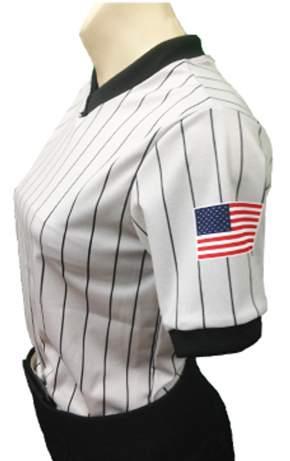 Smitty Women's Grey Referee Shirt with Dye Sublimated US Flag