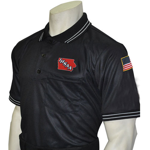 Iowa IHSAA Embroidered Black Umpire Shirt