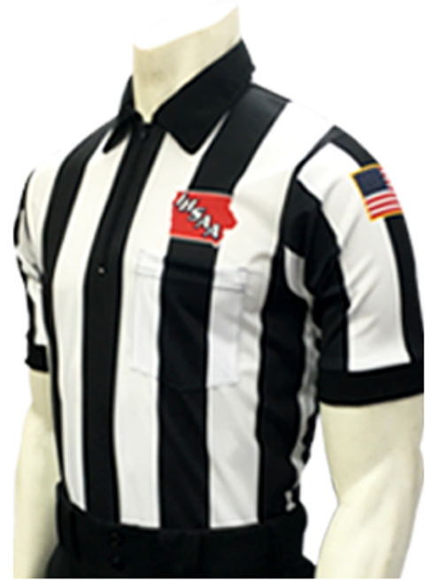 "Iowa IHSAA Embroidered 2 1/4"" Stripe Elite Football Referee Shirt"