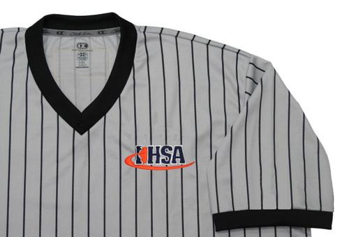 Illinois IHSA Cliff Keen Gray Pinstripe Wrestling Referee Shirt Extra Tall
