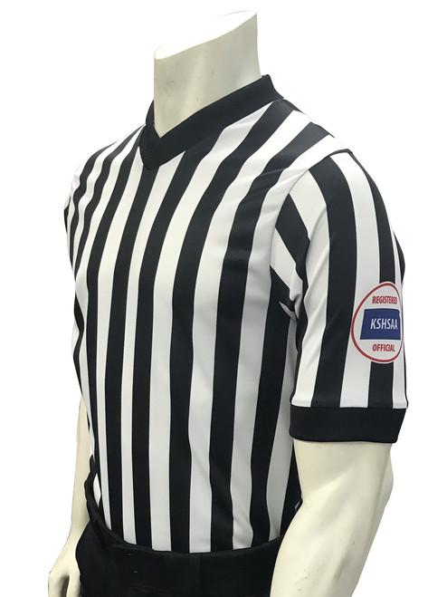Kansas KSHSAA Men'sBody Flex Basketball Referee Shirt with Reverse Flag