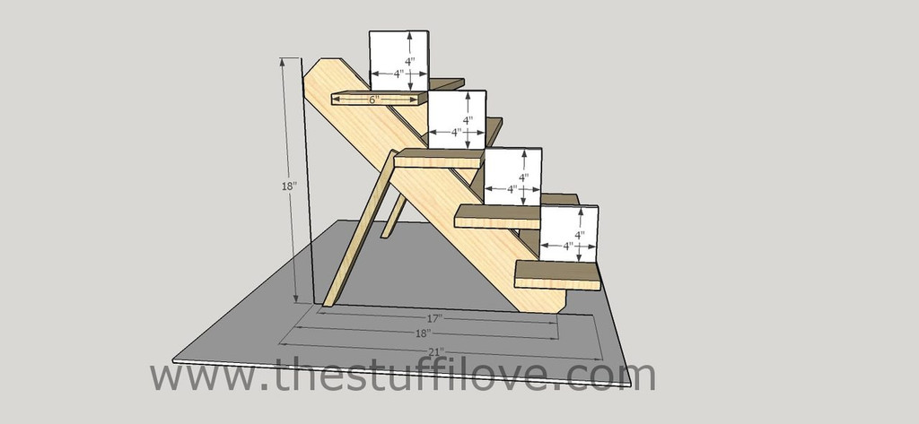 4 Tier Portable Stepped Craft Trade Fair Table Top Wooden Collapsible Riser Display Stand measurements.