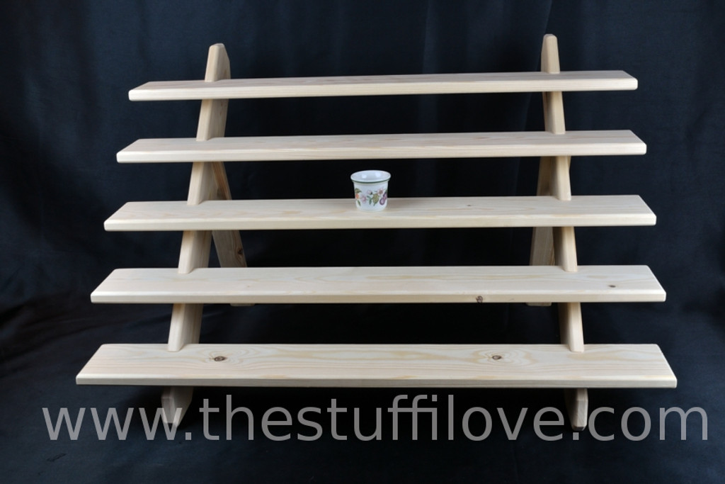 """5 Tier 75 cm (29.5"""") Wide Portable Stepped Craft Trade Fair Table Top Wooden Collapsible Riser Display Stand"""