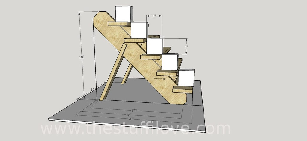 5 Tier Portable Stepped Craft Trade Fair Table Top Wooden Collapsible Riser Display Stand measurements.