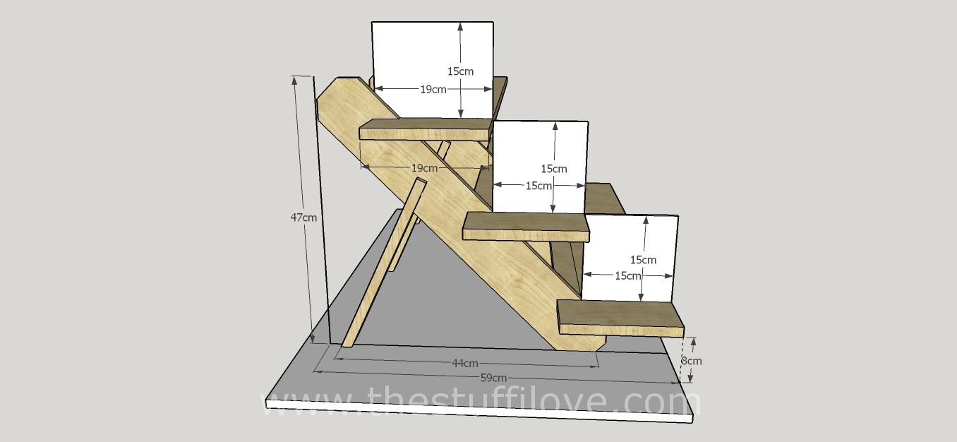 3 Tier Deep Stands Dimentions Metric