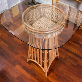 Havana Round Counter Table With Glass Top in Antique Honey finish