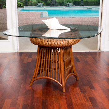 Havana Round Table With Glass Top in Sienna finish