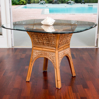 Key Largo Dining Table with Glass Top in Antique Honey finish