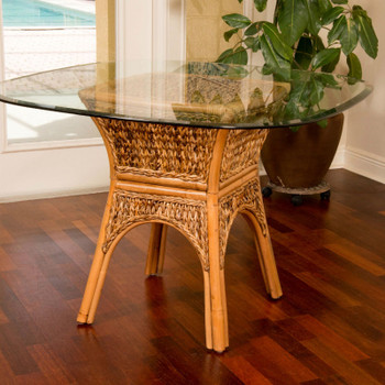 Panama Dining Table with Glass Top in Antique Honey finish