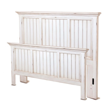 Monaco Queen Complete Bed in a distressed blanc finish
