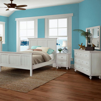 Monaco 4 pc. Complete Bedroom Set shown in a distressed blanc finish