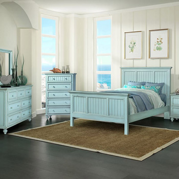 Monaco Bedroom shown in a distressed blue finish.