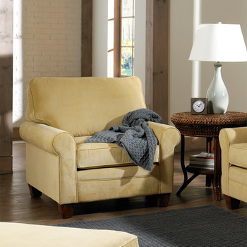 The Highland Lounge Chair comes in your choice of feet, fabric, and finish color.