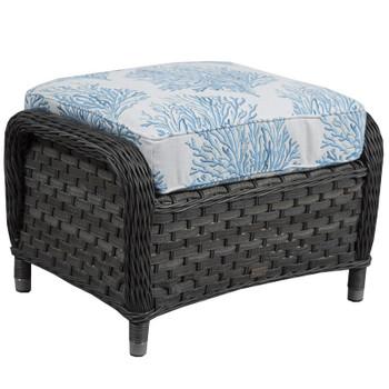 Lorca Outdoor Ottoman - Aquaria Blue Fabric