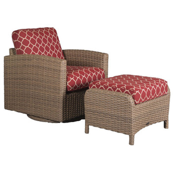 Lodge Outdoor Swivel Glider with Ottoman - Accord Crimson Fabric