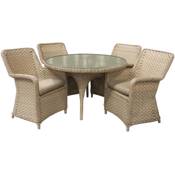 "El Dorado Outdoor 5pc Dining Set with 4 Arm Chairs and 48"" Round Table"