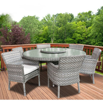 "Lorca Outdoor 7pc Dining Set with 6 Arm Chairs and 67"" Round Table"