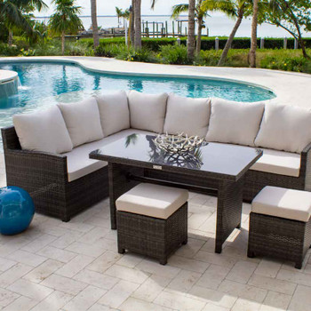 Spectrum 5 pc. Outdoor Dining Sectional Set