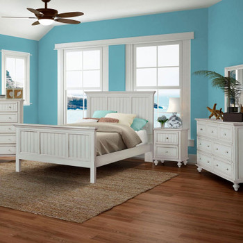 Monaco 5 piece Complete Bedroom Set shown in a distressed blanc finish