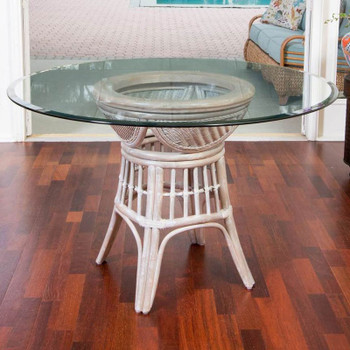 "Bermuda Dining Table with 48"" Round Glass in Rustic Driftwood finish"