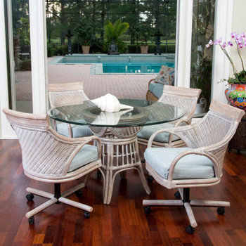 Bermuda 5 pc. Dining Set with Caster Arm Chairs in Rustic Driftwood finish