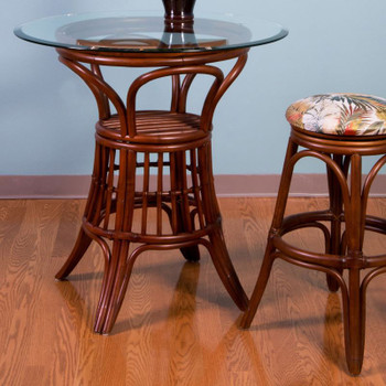 Universal Pub Table With Glass Top in Sienna finish