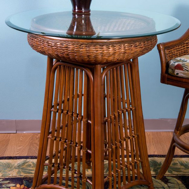 Havana Pub Table With Glass Top in Sienna finish