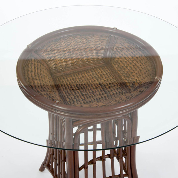 Havana Counter Table with round glass top in Sienna finish