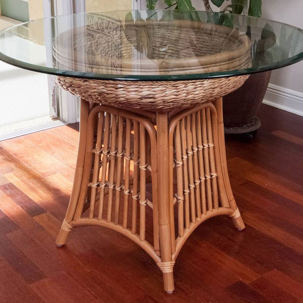 """Havana Dining Table with 42"""" round glass top in Antique Honey finish"""