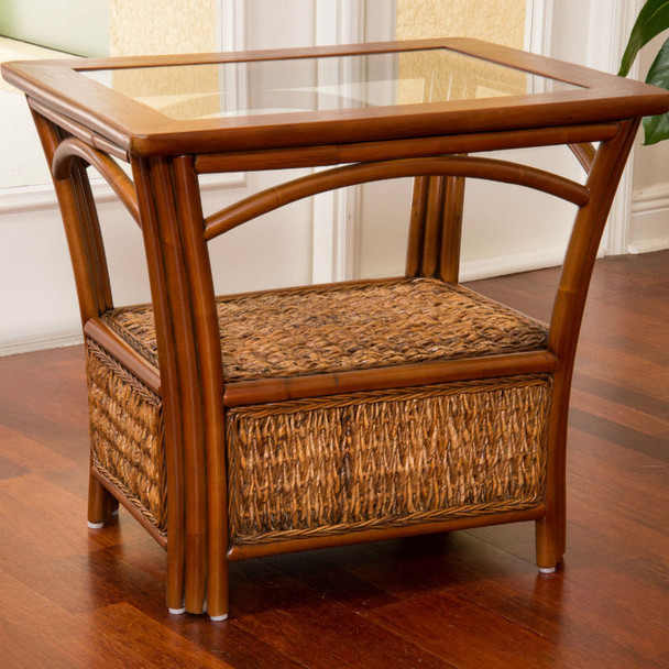 Panama End Table With Glass Top in Sienna finish
