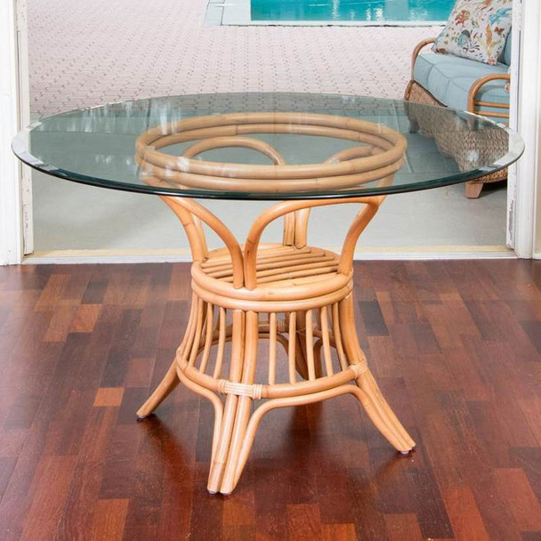 Universal Round Dining Table with round glass top in Antique Honey finish
