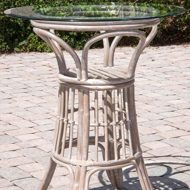 Universal Pub Table With Glass Top in Rustic Driftwood finish